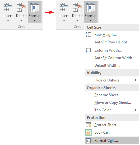 Cells group in Excel 2016
