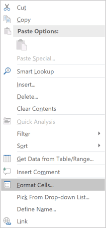 Format cells in popup menu Excel 2016