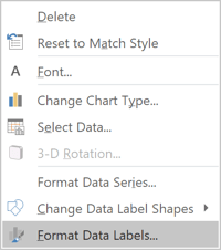 Format Data Labels in popup menu Excel 2016