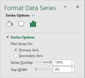Gap Width for Data Series in Excel 2016