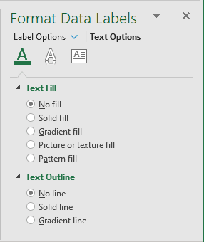 No fill and No line for Label in Excel 2016