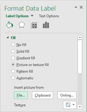 Fill Data Label in Excel 2016