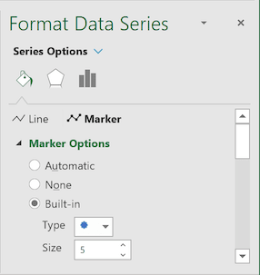 Built-in Marker Options in Excel 2016