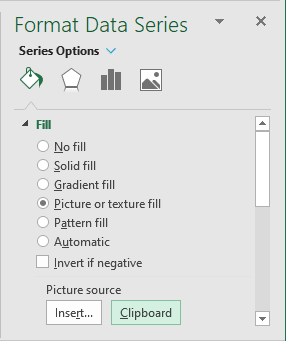 Fill Data Series from Clipboard in Excel 2016