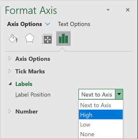Format Axis in popup Excel 365