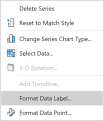 Format Data Label in popup menu Excel 365