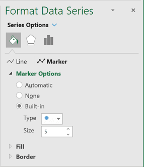 Built-in Marker Options in Excel 365