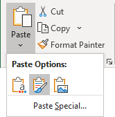 Paste with keeping source formatting in Excel 365