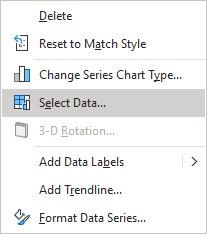 Select Data in popup menu Excel 365