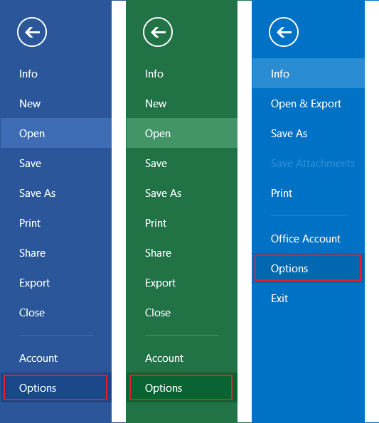 Options in Office 2013