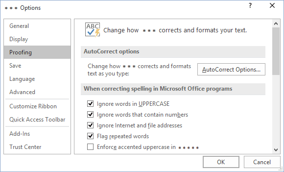Proofing in Office 2016