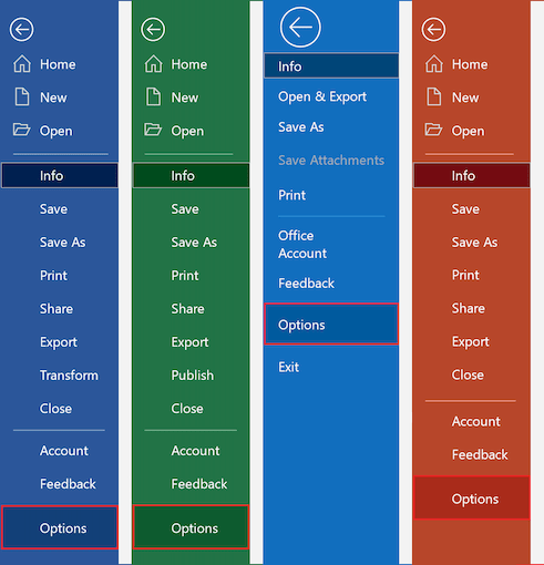 options in Office 365
