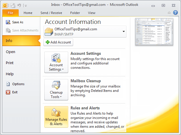 Manage Rules and Alerts button in Outlook 2010