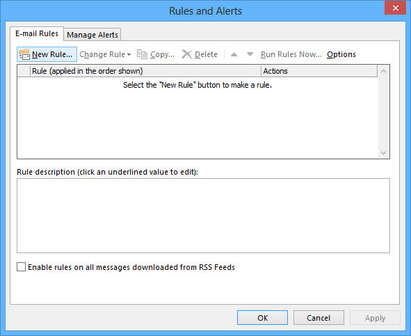 Manage Rules and Alerts button in Outlook 2013