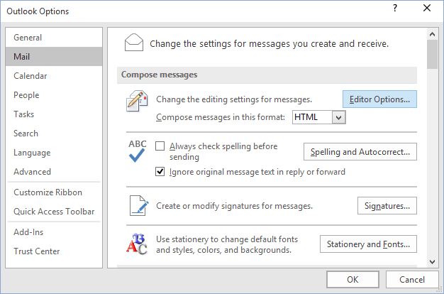 Mail Options Outlook 2016
