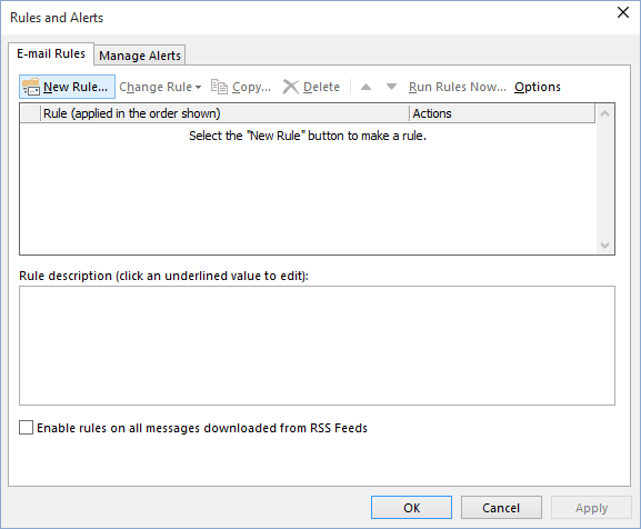 New Rule in Outlook 2016