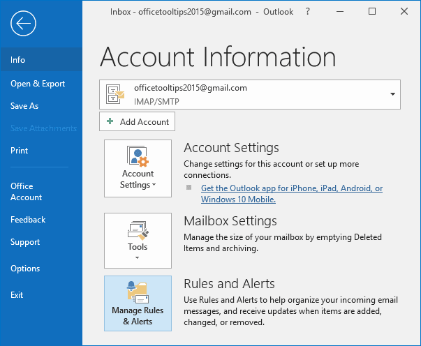 Manage Rules and Alerts button in Outlook 2016