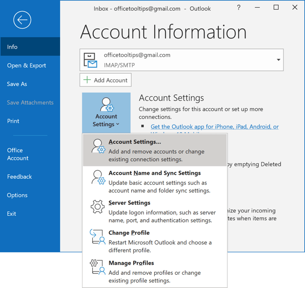 Info group in Outlook 365
