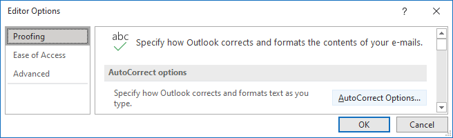 Proofing tab in Outlook 365 Options