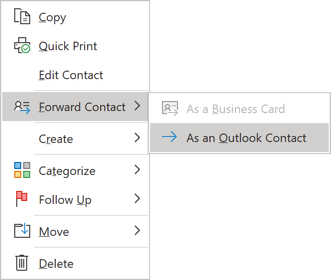 Forward Contact in popup menu Outlook 365