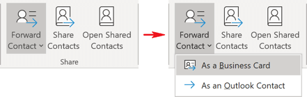 Forward Business Card in Outlook 365
