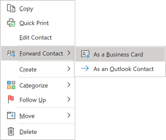 Forward Business Card in popup menu Outlook 365