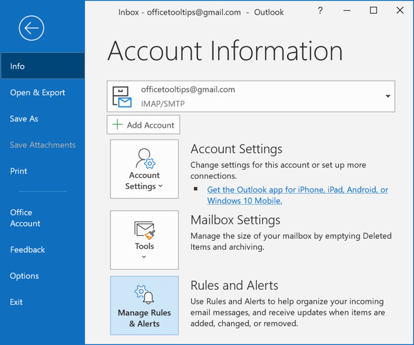 Manage Rules and Alerts button in Outlook 365