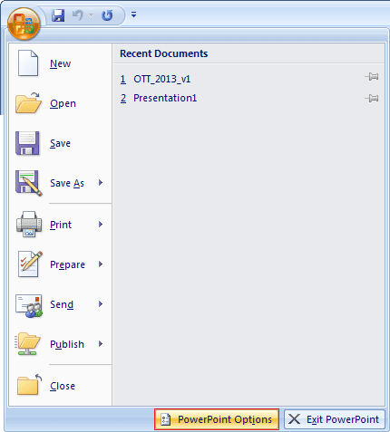 Options in PowerPoint 2007