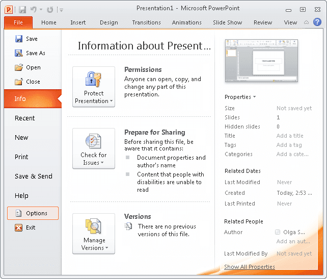 Options in PowerPoint 2010