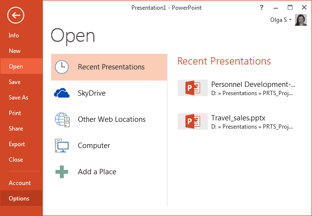 Options in PowerPoint 2013