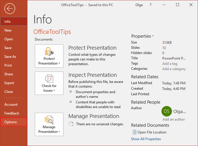 PowerPoint 2016 options