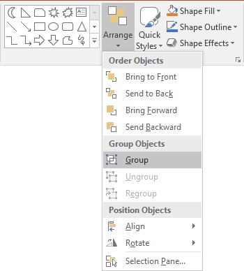 Group shapes in PowerPoint 2016