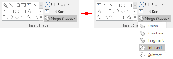 Intersect shapes in PowerPoint 2016