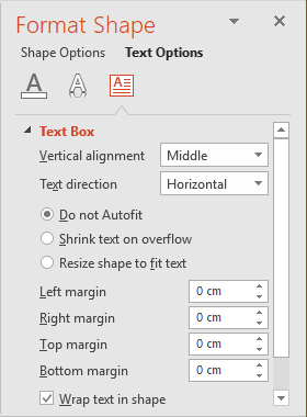 Format Shape pane in PowerPoint 2016