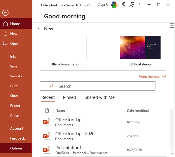 Options in PowerPoint 365