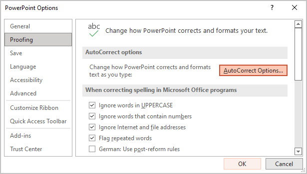 Proofing Options in PowerPoint 365