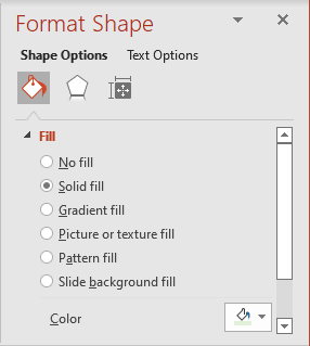 Format shape pane in PowerPoint 365