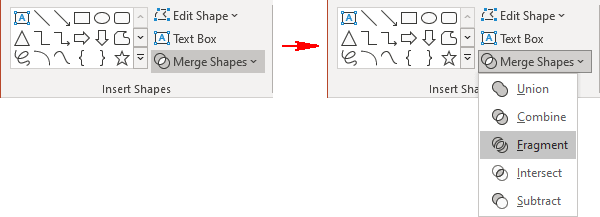 Fragment shapes in PowerPoint 365