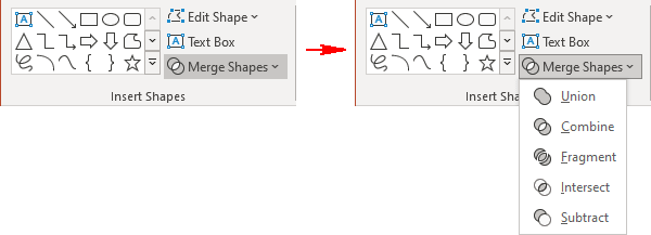 Merge Shapes operations in PowerPoint 365