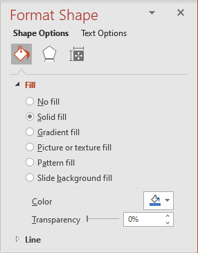 Fill in Format Shape pane in PowerPoint 365