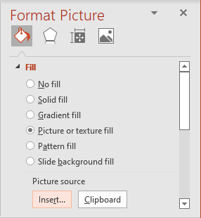 Insert file in Format Picture pane PowerPoint 365