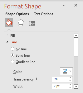 Line color and width in Format Shape pane PowerPoint 365