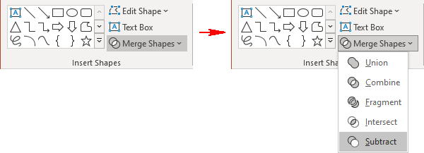 Subtract shapes in PowerPoint 365
