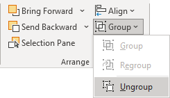 Ungroup shapes in PowerPoint 365