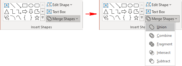 Union shapes in PowerPoint 365