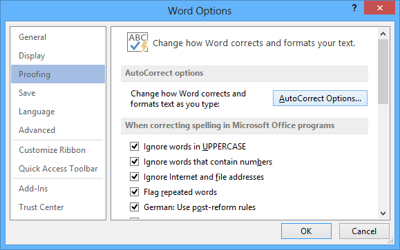 Proofing in Word 2013