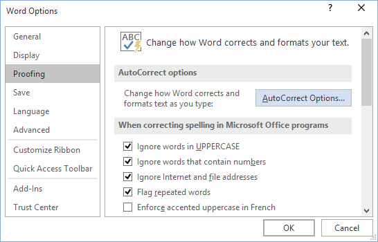 AutoCorrect Options in Word 2016