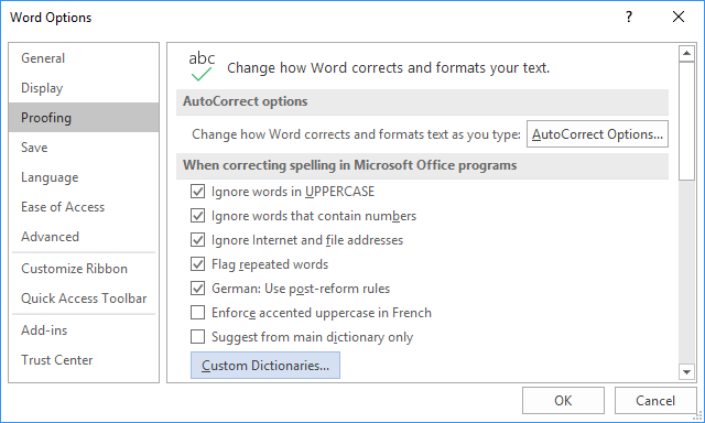 Custom Dictionaries in Word 2016