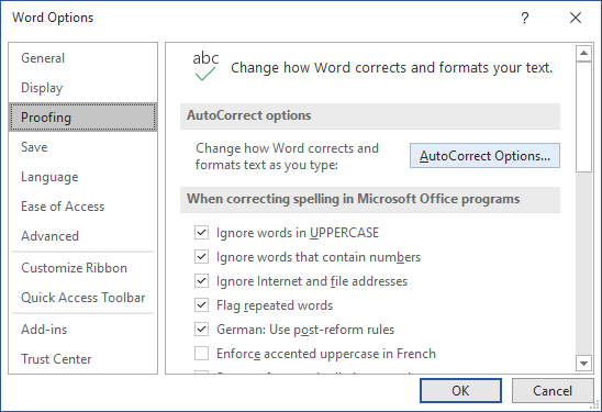 AutoCorrect Options in Word 365
