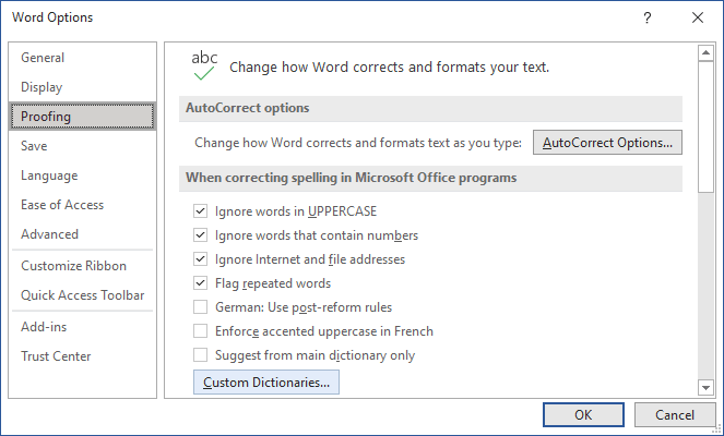 Custom Dictionaries in Word 365